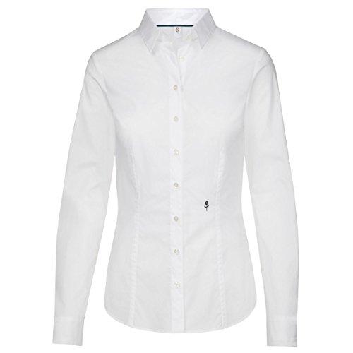 Seidensticker Damen Bluse Hemdbluse Langarm slim fit Uni Stretch, Weiß (Weiß 01), 40 (Rose Tonal)
