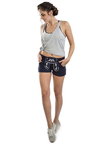 Damen WiesnFit Jogging Lederhose Madl - Jogginghose Trachten Hotpants (S, Blau) (Jogginghose Braune)