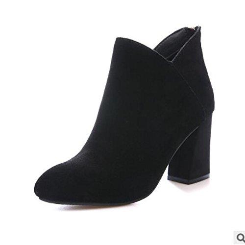 HSXZ Scarpe donna pu Autunno Inverno Comfort stivali Chunky tallone punta Babbucce/stivaletti di abbigliamento casual Nero Marrone Brown