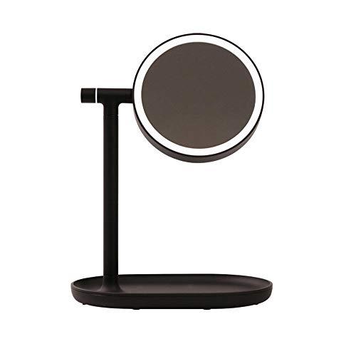 LED Schminkspiegel Tischlampe Schminktisch Spiegel Aufladen Dimmen Touch Geschenk Multifunktions Schminkspiegel mit Licht Make-up deli kleine Leistung (Color : Fog black)