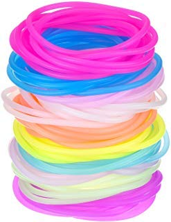 Mehrfarbige Silikon Jelly Armbänder Leuchtende Haar Krawatten, 100 Stücke