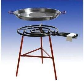 Riesiges Paella Grillset für 40 Personen mit 3-flammigem, 70cm Gasbrenner (28 KW), 70cm und 80cm Pfanne, verstärkte Füsse, incl. Schlauch und Druckminderer