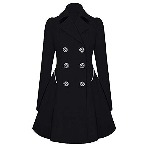 (iHENGH Neujahrs Karnevalsaktion Damen Herbst Winter Bequem Mantel Lässig Mode Jacke Frauen Winter warme Damen Revers stilvolle Lange Parka Mantel Trench Outwear Jacke)