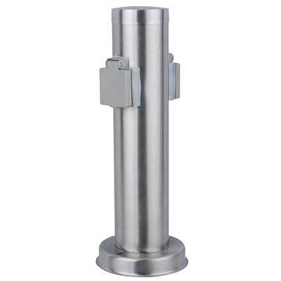 Edelstahl -Aussen - Steckdosensäule mit 2 Steckdosen Schutzklasse: IP44