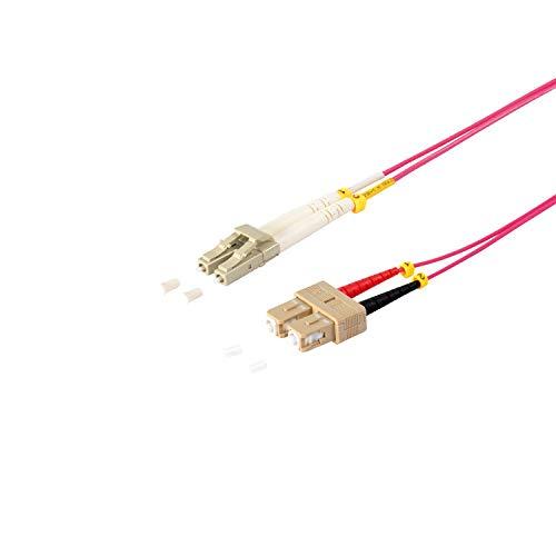 """kabelbude KB77937/402 Multimode-LWL-Duplex Patchkabel """"LC/SC 50/125µ, OM4"""", 2m Lila"""