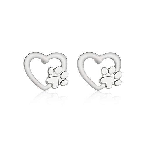 RKWEI Ohrringe Für Damen Ein Paar Mode Vergoldet Silber Hund Pfotenabdruck Ohrstecker Tier Klaue Form Ohrringe Schmuck Weiblich B