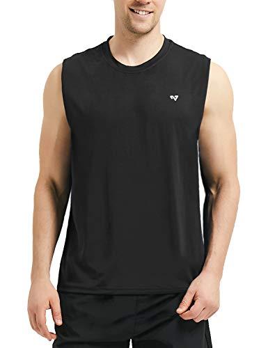 Roadbox Männer Sleeveless Workout Muskel Bodybuilding Tank Tops Shirts, Black, S