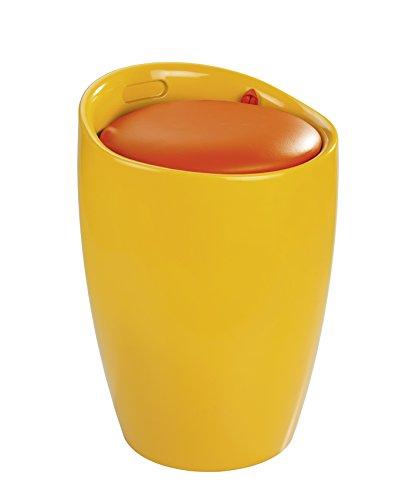 Wenko 20626100 candy - sgabello da bagno con sacco biancheria estraibile, in plastica abs, Ø 36 x 50,5 cm, colore: arancione