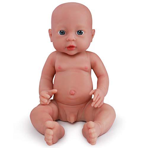 Vollence 40 cm Realistische Reborn Babypuppe, PVC-Frei, Echte Ganzkörper Silikon Baby Puppe, Handgefertigt aus lebensechtem Soft-Silikon Baby-Puppe mit Kleidung - Junge -