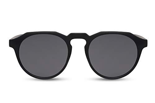 Cheapass Sonnenbrille Rund-e Matt-Schwarz UV-400 Retro Plastik Damen Herren