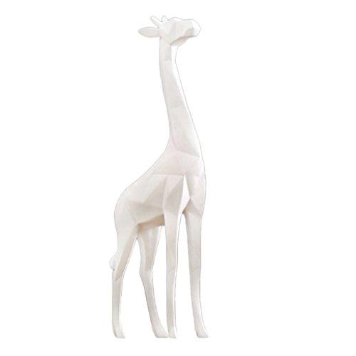 Baoblaze Dekoration Keramik Giraffe Tier Figuren Skulpture Ornament - Weiß (Keramik-mini-figur)