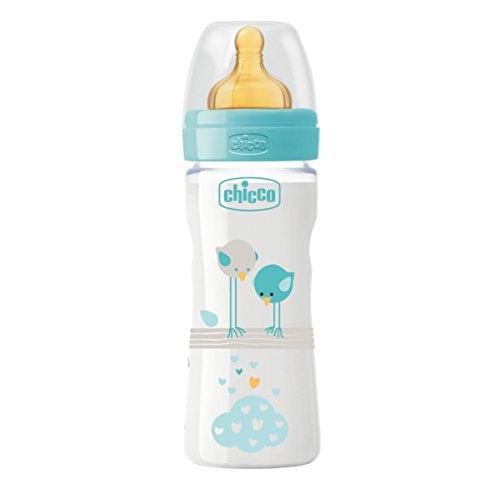 Chicco 00020622200000 Benessere Plastica Bambino Biberon, Caucciù, Flusso Medio, 250 ml, Blu