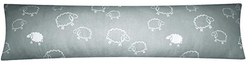 Heubergshop Baumwoll Renforcé Seitenschläferkissen Bezug 40x145cm - Schafe Lämmer in Grau und Weiß - Öko-Tex 100% Baumwolle Stillkissenbezug (99-7-B)