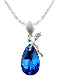 * Almond * * almendra * Elf estilo Swarovski Elements–Color * Capri Blue * Schön Mujer Collar–colgante collar joyas Tuerca regalo con cristales de swarovski