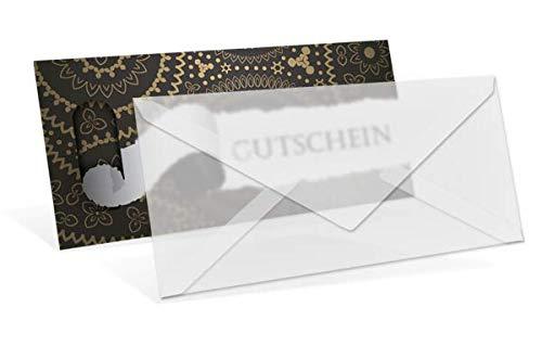 Gutscheinkarten (50 Stück) mit transparenten Briefumschlägen - Geschenkgutscheine für Weihnachten, Einzelhandel, Männer, Mode, Gastronomie - DIN lang Faltkarte verschließbar
