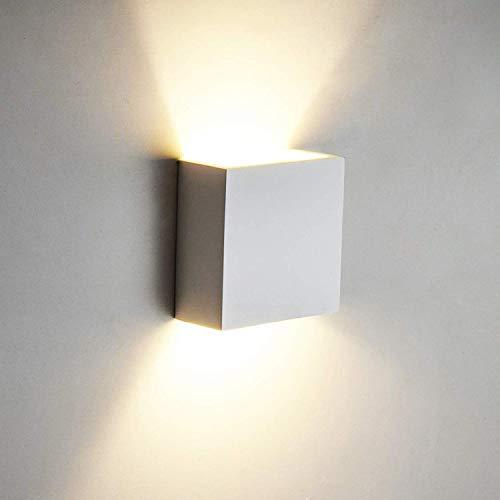 OOWOLF 6W LED Wandleuchte Up Down Indoor Wandleuchte Moderne Aluminium Wandleuchte Leuchten für Wohnzimmer Schlafzimmer Badezimmer Küche Esszimmer, warmes Weiß [Energieklasse A++]
