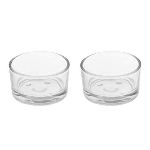 SGerste Reptilien-Napf für Futternapf, Glas, transparent, 2 Stück