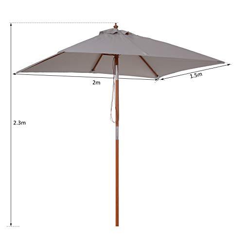 Outsunny 2 x 1.5m Patio Garden Parasol Sun Umbrella Sunshade Canopy Outdoor Backyard Furniture Wood Wooden Pole 6 Ribs Tilt Mechanism - Grey