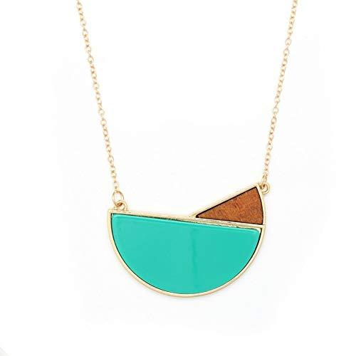 wangzz Anhänger Original Design Damen Lange Halskette Kette Sky Blue Acetat Version Holz Kombination Anhänger Pullover Kette, Gold