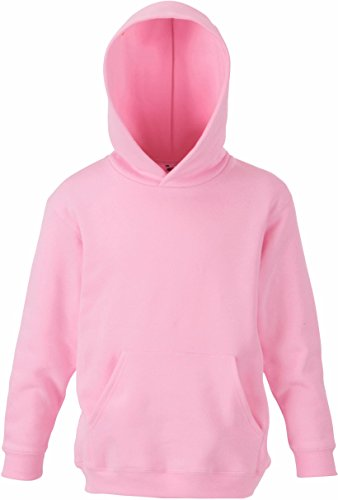 Rosa Mädchen Pullover (Fruit of the Loom - Classic Kinder Kapuzen-Sweatshirt 'Kids Hooded Sweat' 152,Light Pink)