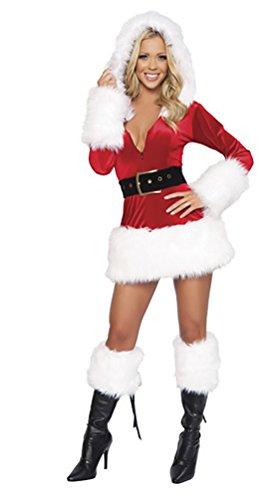 achts Kostüm Cosplay Performance Fancy Kleid mit Kapuze Weihnachtsoutfit Weiß (Kleid+Gürtel) (Schlichte Weiße Halloween-kleid)