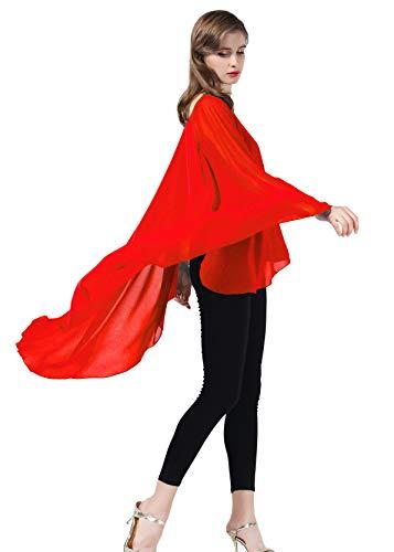 BEAUTELICATE Damen Stola Schal Chiffon Umhang Cape Elegant Für Hochzeit Brautkleid Abendkleid Festlich Ballkleid Strandkleid Rot Eleganter Schal
