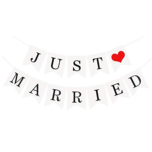 "JZK ""Just Married Wimpelkette Banner Flaggen mit Schleife, Dekoration für Hochzeit Fest oder Foto Photo Booth Fotografie (Just Married Banner)"