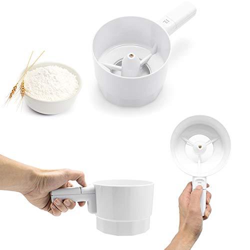 Mehlsieb elektrisch mit Griff Mehlsieb tragbar Handheld Kunststoff Cup Form Shaker Batteriebetrieben Küche Backen Kochen Werkzeuge Free Size weiß