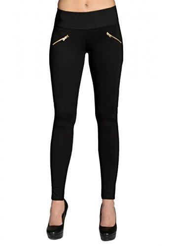 CASPAR HLE008 Damen Stretch Leggings , Farbe:schwarz;Größe:38 M UK10 US8 (Schwarz Und Gold-leggings)