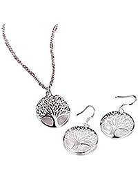 d72a06eb960a CIPOPO - Conjunto de Collar y Pendientes de Acero para Mujer