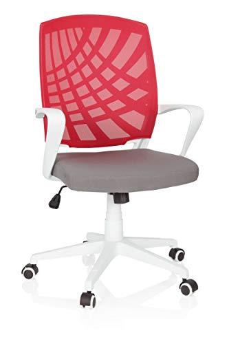 hjh OFFICE 621979 Home-Office Drehstuhl Spring Stoff Grau/Rot bequemer Bürostuhl mit Netzrücken