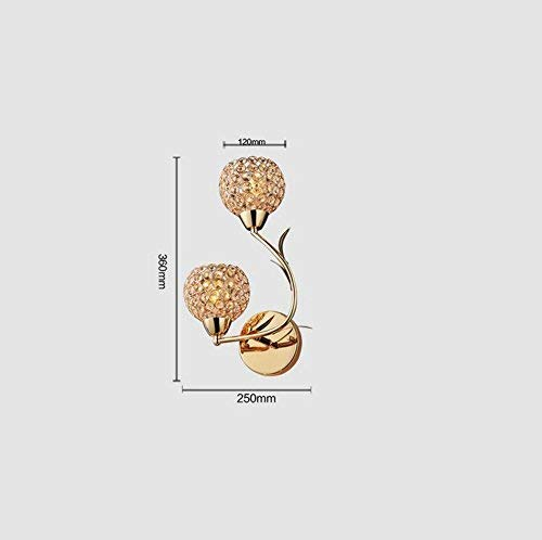 ZHYTX Pared de Vidrio, luz de Espejo de la Cabeza de la casa, Frente a la habitación del Hotel, decoración de Pared Matrimonio Lámpara de Oro 14.25 E * 36Cm Selección de luz Blanca cálida,25 * 36 cm