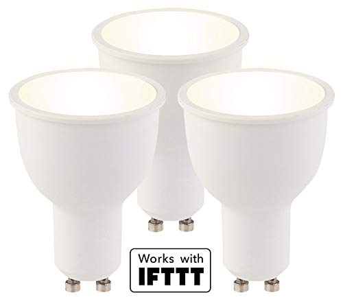 Luminea Leuchtmittel LED: 3er-Set WLAN-LED-Lampen GU10, komp. mit Alexa, warmweiß, 4,5 Watt, A+ (Dimmbarer LED Spot)