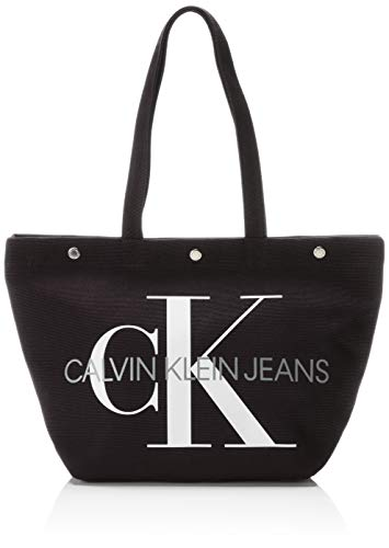 Calvin Klein Jeans Damen Canvas Utility Ew Bottom Tote M Schwarz (BLACK), 15x31x46 cm 20 Bottoms Jeans