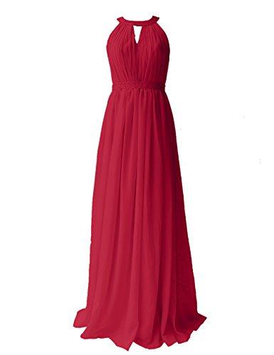 Dresstells, Robe de soirée Robe de cérémonie Robe de demoiselle d'honneur longueur ras du sol col rond sans manches Rouge Foncé