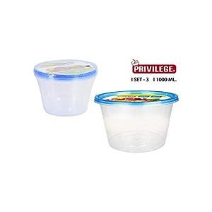 Privilege- Set 3 Semidesechables, Redondo, 1000 ml, Multicolor (49799)