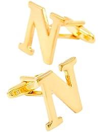 Bishiling Mode Manschettenknöpfe Herren Hochzeit Edelstahl Buchstabe A-Z Manschettenknöpfen Hemd Gold
