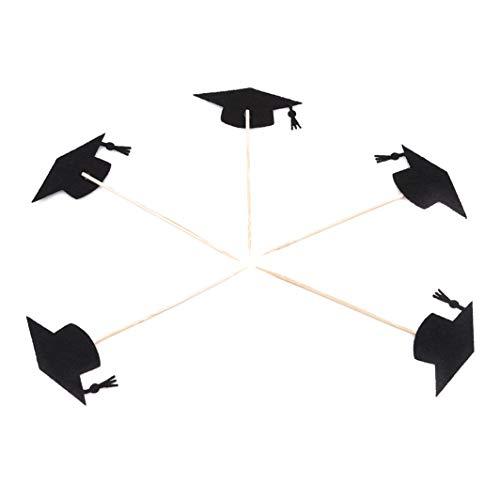(SHIJIAN 5 Stücke Cupcake Toppers Kuchen Dekorationen 2018 Graduation Cupcake Toppers Bogen Graduation Cap Dekorationen Kuchen Fahnen Dekoration, Schwarzer Hut)