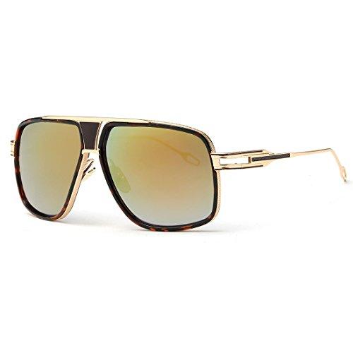 Kimorn Lunettes de soleil pour hommes Retro Goggle Métal Cadre Lunettes Classiques AE0336 (Or&Noir, 62)