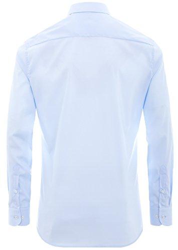 Eterna - Slim Fit - Herren Langarm Hemd mit Kent Kragen und Stretch Anteil, Bügelfrei (8424 F18P) Blau (10)