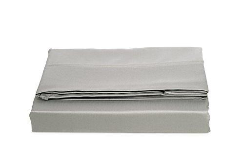AmazonBasics Bettlaken, Baumwoll-Satin Fadenzahl 400, knitterarm, 240 x 320 + 10 cm - Grau