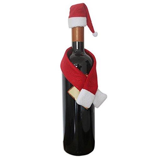 MAYOGO Weihnachten Weinflasche Schal Mütze Ornament Zuhause Weinflaschenverschluss Cover Dekoration Set Rot&Weiß (Schwarze Und Weiße-krippe-set)