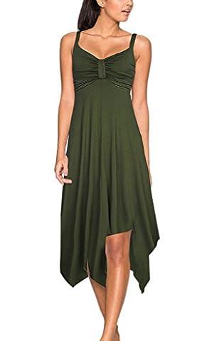 Nergivep Women's spaghetti strap maxi dress Irregular Hem Summer Casual Boho Beach Dress XL Army