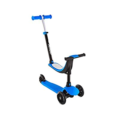 Scooter Children's Four-in-one Can Sit Baby Paddle Car Three-wheeled Skate Block 2-10 Years Old Slippery Car FANJIANI (color : Blue, Size : Ordinary wheel)
