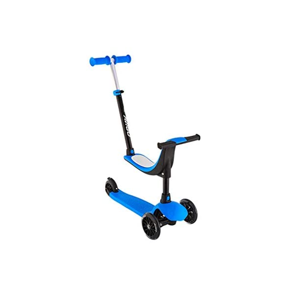 Scooter Children's Four-in-one Can Sit Baby Paddle Car Three-wheeled Skate Block 2-10 Years Old Slippery Car FANJIANI (color : Blue, Size : Ordinary wheel) Scooter ▷Tip: The delivery time of the product is 8-15 days, If you have any questions, please feel free to contact us ▶Adjustable height, suitable for different heights, starting from 58 cm, moving to 72 cm, suitable for children's scooters of different ages ▶Multi-function two-in-one, you can ride a walker, or you can slide a scooter to cultivate your baby's balance ability and exercise your baby's bone growth. 1