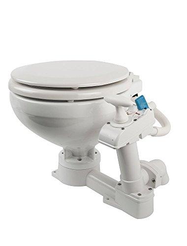 Compass manuelle Toilette/Bordtoilette mit Porzellanbecken und Kunststoffdeckel, geeignet für Segel- und Motorboote, weiß, 199950