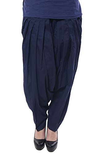 Kurti Studio Women\'s Cotton Semi Patiala Salwar (semip16_Ink Blue_Free Size)