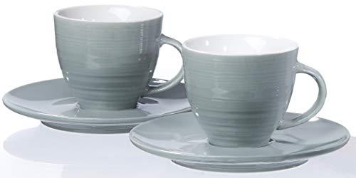 Ritzenhoff & Breker Espresso-Set Suomi, 4-teilig, Grau-Blau, je 80 ml, Porzellan