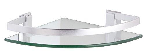 CM BAÑOS Rinconera Cristal+Aluminio, Metal, Cromo Brillante, 24x24x5.7 cm