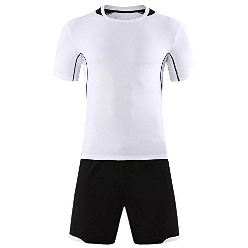 Falten Fußball Kostüm - KINDOYO Herren & Jungen Fußballshirt, Fußballtraining Trainingsanzug, Anti-Falten & Anti-Pilling Fußball Trikots (Weiß,EU L = Tag XL)